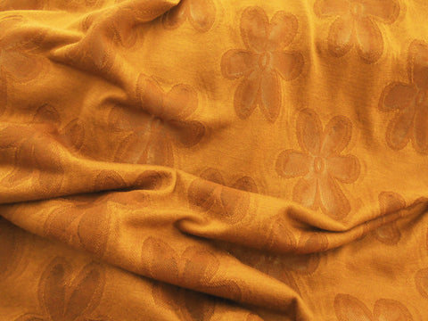 gold floral knit fabric
