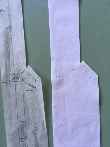 Placket markings and pattern piece