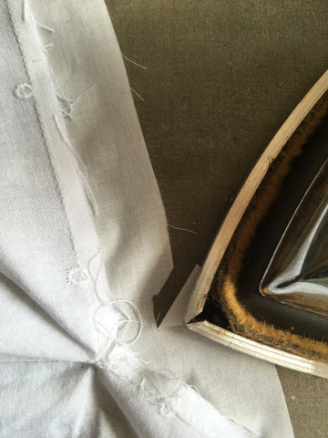 Pressing point of placket in place.