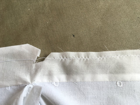 Stay-stitch as guide for folding edges.