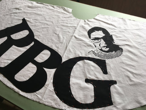 Photo of RBG fabric intials and portrait on the Folkwear 256 At The Hop skirt