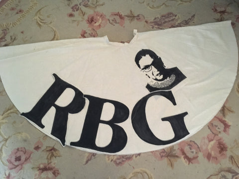 Photo of RBG skirt muslin laying flat, showing position of portrait.