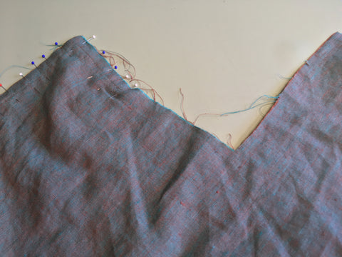Sewing up the right side wrap extension