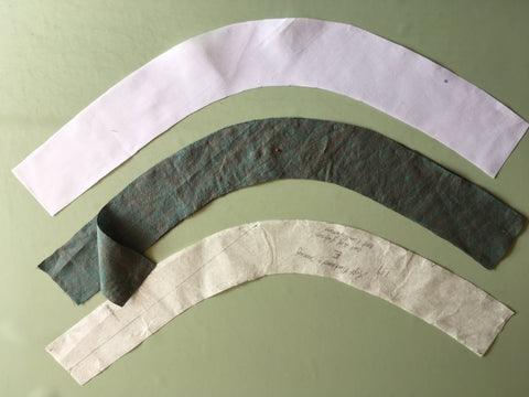 Cut out pattern pieces for Neckband E and Facing for Folkwear 131 Tibetan Chupa