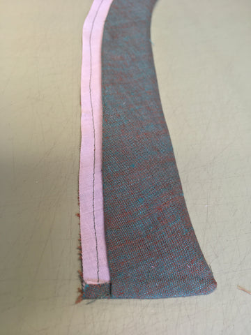 The neckband of the Folkwear 131 Tibetan Chupa turned right side out