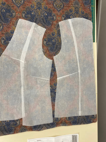layout of front and back pieces for 242 Rodeo Cowgirl Jacket pattern