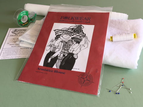 Photo of Folkwear 210 Armistice Blouse Pattern and sewing supplies