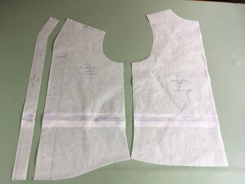 Photo of front, back, and facing pattern lengthened for for Folkwear 210 Armistice Blouse