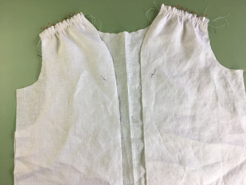 Photo of Front and Back of Folkwear Armitice Blouse pined and gathered at shoulder for first French Seams