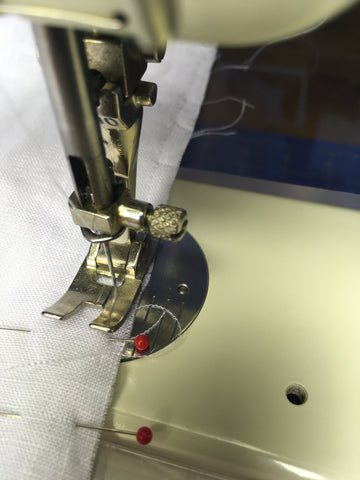 Photo sewing scant side seam of French seam on sewing machine for Folkwear 210 Armistice Blouse