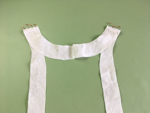 Up close photo of Neck and Front Facing construction of Folkwear 210 Armistice Blouse