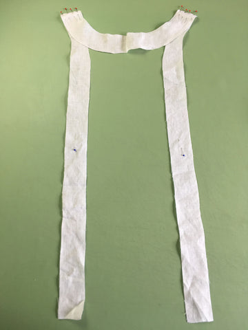 Photo of Neck Facing and Front Facing pined on Folkwear 210 Armistice Blouse