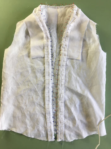 Photo of Front Facing pinned on front of Folkwear 210 Armistice Blouse with collar sandwiched between.