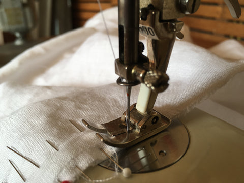 Photo showing first scant French Seam sewn on sleeve of Folkwear 210 Armistice Blouse