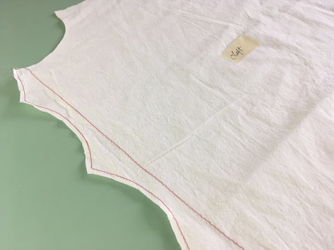 Photo of Folkwear 216 Schoolmistress Shirtwaist Left front with scallop edge staystitching and basted stitch fold guide
