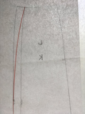Photo showing how to trace hip and waist adjustment for side seams of Folkwear 216 Schoolmistress Skirt