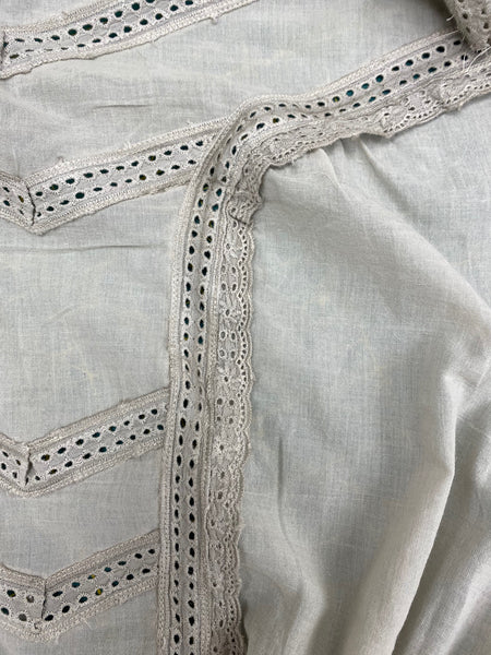 Insertion lace and edging lace on voile for dress bodice