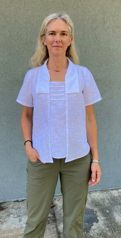 Photo of Molly in Everyday Version of the Folkwear 210 Armistice Blouse