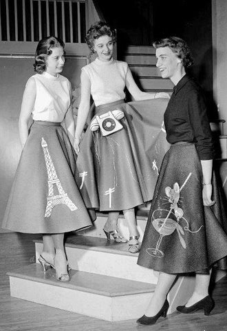 Photo of 1950's Ladies modeling different themed circle skirts.