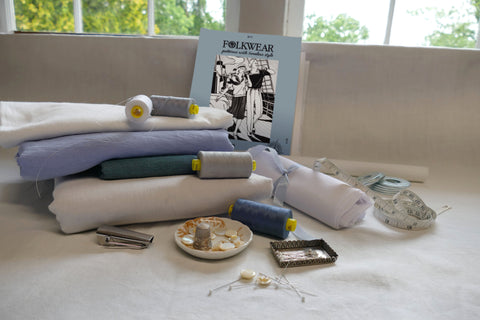 Photo of materials and pattern to make Middy Blouse View A & B.