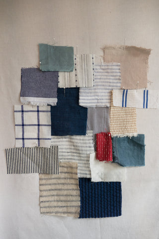 collection of woven linen and cotton swatches