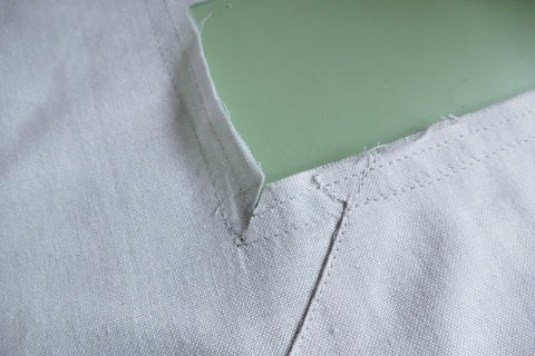 Middy Blouse View A straight stitch reinforced neck opening with clipped corners.