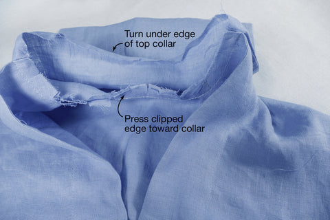 Labeled photo showing clipped curve of neckline before securing the upper collar on Middy Blouse View B.