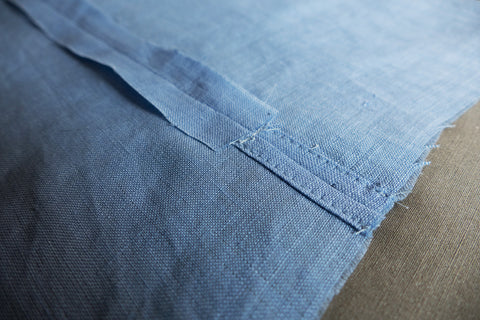 Construction of the vent on Middy Blouse View B and the side seam pressed open.