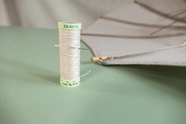 Photo of gutermann button twist used to sew on parasol tips