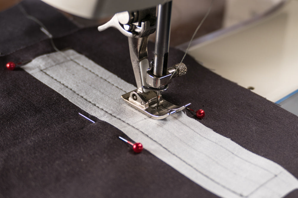 Sewing the parallel lines being sure to stop and start at the same place on each end.