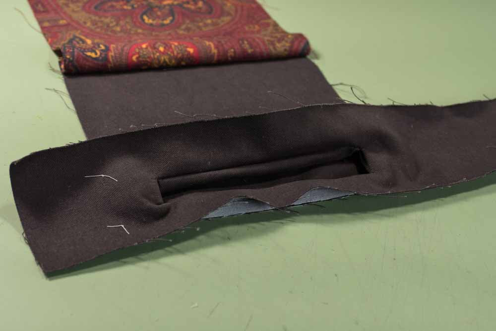 View of the fabric pulled to the opposite side before shaping the edges and corners