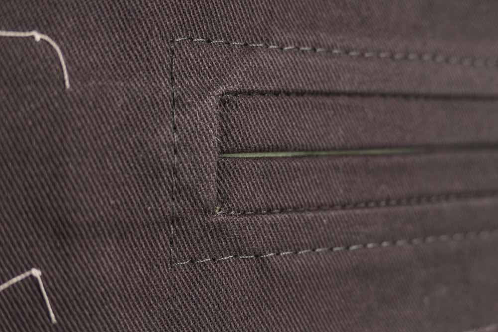 Close up of the top stitching corners.