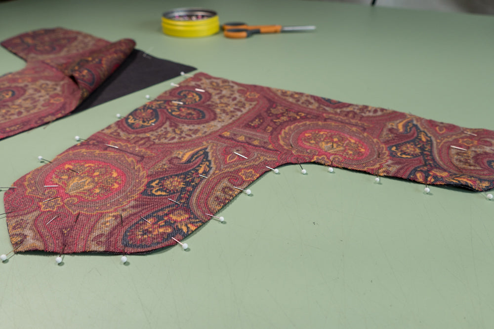 The Front Dart Gusset and lining pined right sides together.