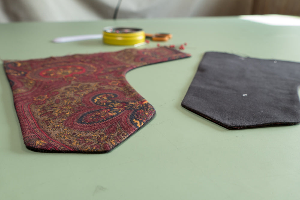 Both Front Dart Gusset pieces turned and pressed.