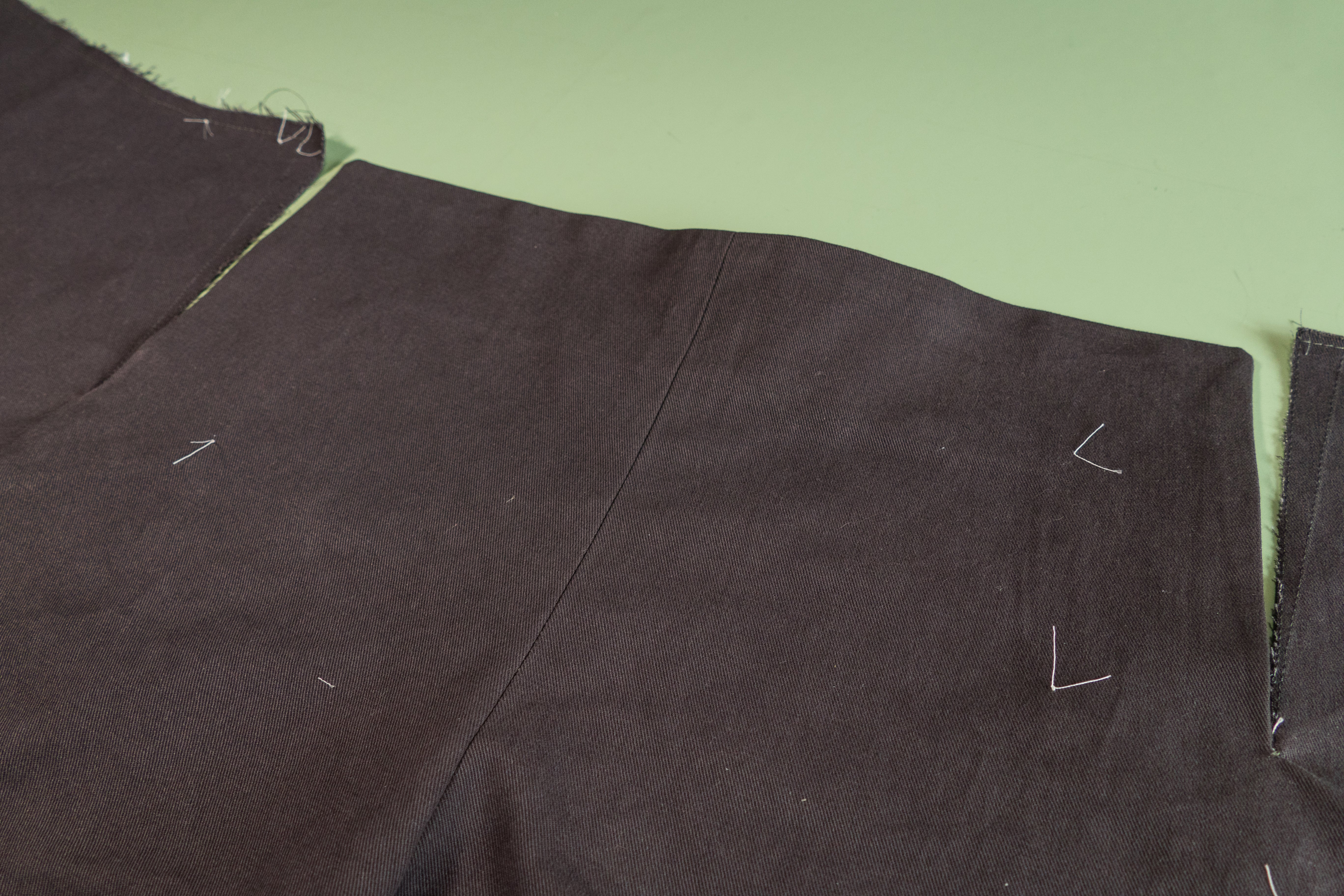 The front of the pant with the Front Buttonhole Facing installed.