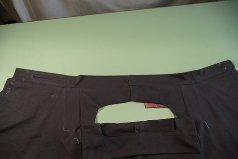 The outside of the pant with the Front Buttonhole Facing folded down.
