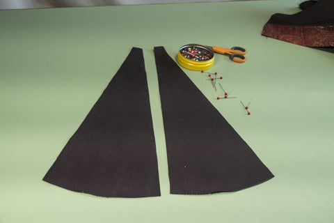 The Inner Leg Godet pieces ready to be assembled to the pant legs.