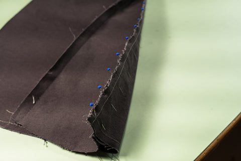 The other side of the godet pined and sewn to the opposite side of the leg.