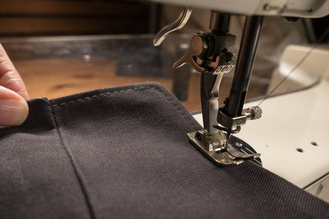 Topstitching started in the seam and stitching slowly around the curved corner.