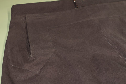 The first row of topstitching finished on the front of the pants.