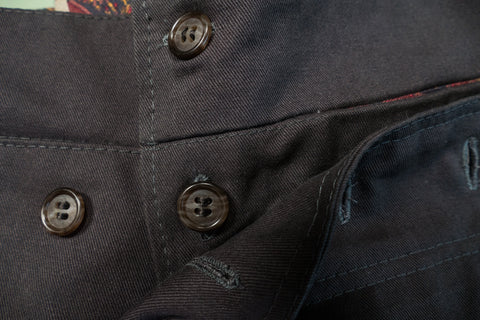 The center button passes through two buttonholes.