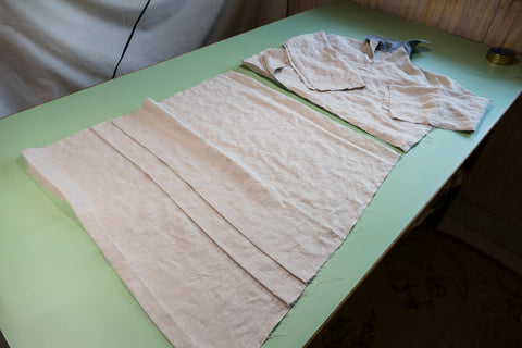 The blouse and skirt portions are ready to be assembled.