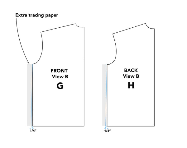 Illustration grading side seams for pattern Piece G Front & H Back for Middy Blouse View B