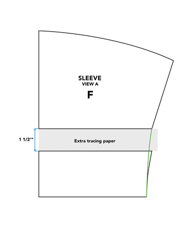 Illustration demonstrating how to add length to sleeve of Middy Blouse View A.