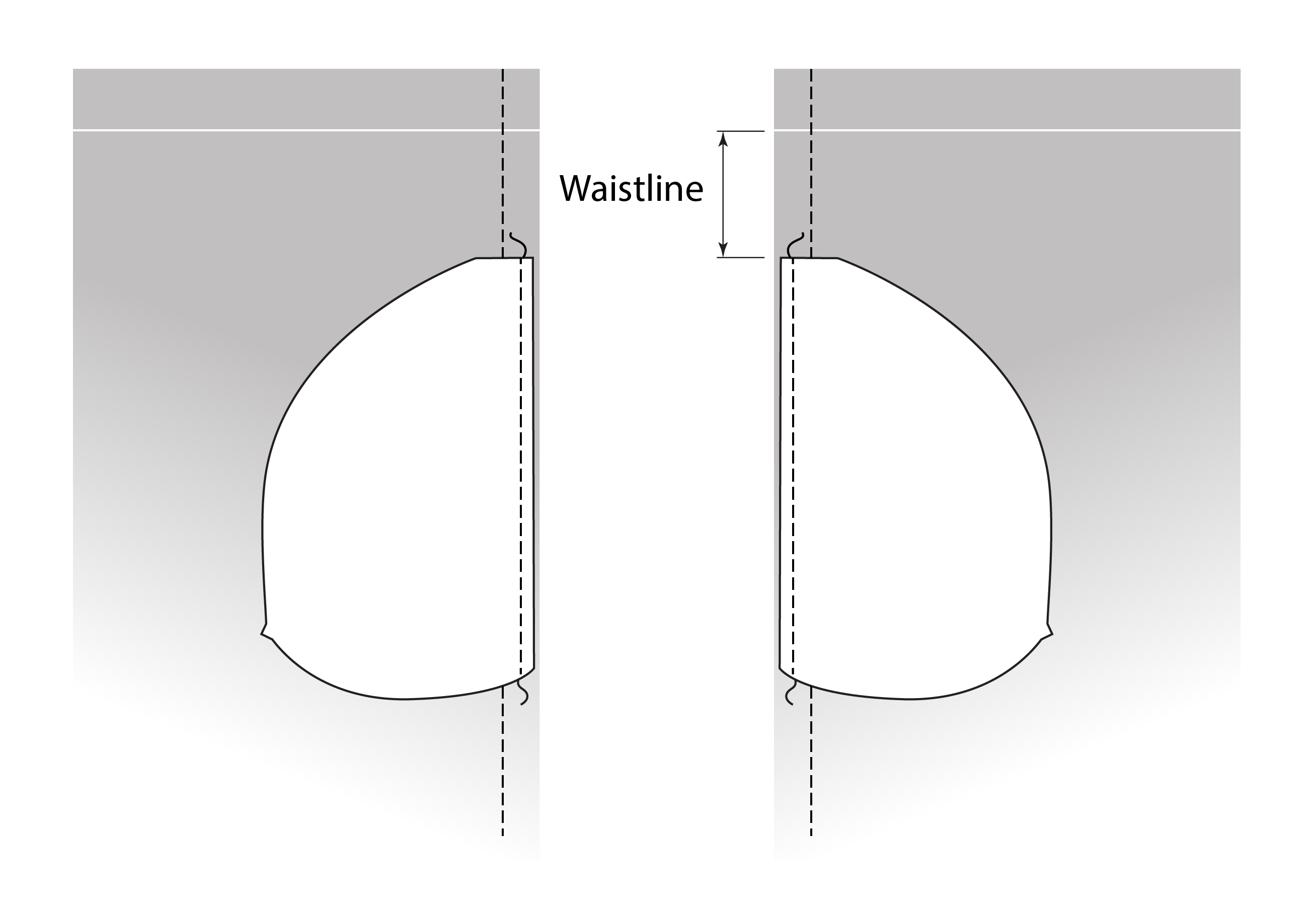 Illustration showing pocket sewn with 14 inch seam allowance.