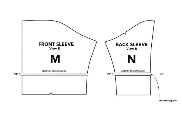 Illustration on how to lengthen the front and back sleeve pattern pieces by 1/2 inch.