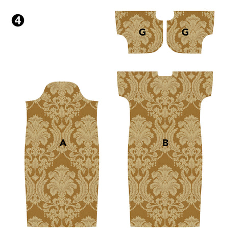 Illustration of Hong Kong Cheongsam fabric pieces Front A, Back B  and Upper Front G cut out.
