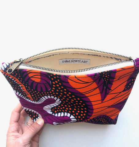 Travel pouch made from african wax print