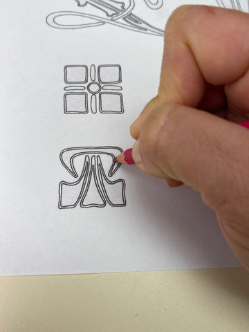 Tracing a design with transfer pencil