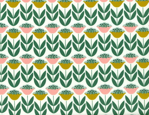 Laminated cotton with a repeating yellow and pink flower pattern